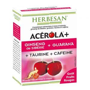 Acérola Ginseng Guarana taurine Cafeine herbesan comprimé