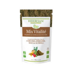 Mix vitalité Curcuma Spiruline Maca Acérola bio herbesan poudre